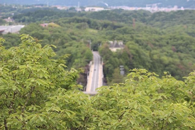 眼下に恵那峡大橋が見える