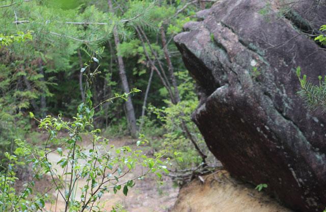 岩の横を通る