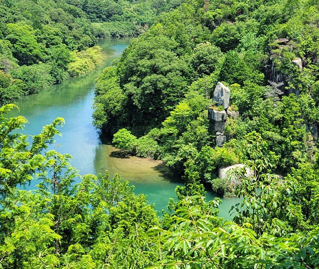 木曽川と付知川の合流地点