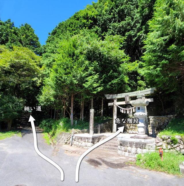 河合神社 階段を登るか車で坂道を上がる